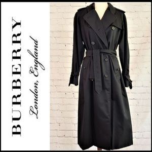 BURBERRY Navy Long Trench Coat, Plaid Lining 12